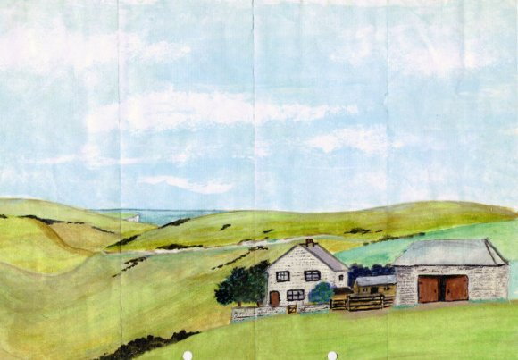 Watercolour of Newmarket Farm by Bob Phipps
