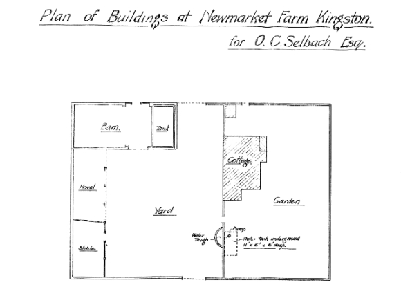 1921 Selbach plan of Newmarket Farm. From ESRO