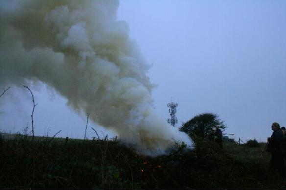 Looking NW at burning of wet vegetation; 10th January 2013
