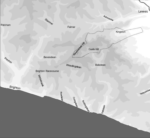 Map of the Downs between Brighton and Lewes: Contour data courtesy of OS Maps