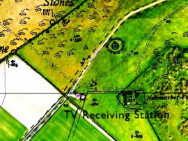 Newmarket Farm location. Overlay of old and new O.S. maps and Google Satellite images.