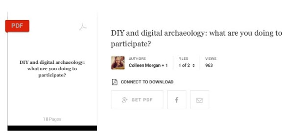 DIY and digital archaeology: what are you doing to participate? by Coleen Morgan and Stuart Eve. http://www.academia.edu/2365783/DIY_and_digital_archaeology_what_are_you_doing_to_participate