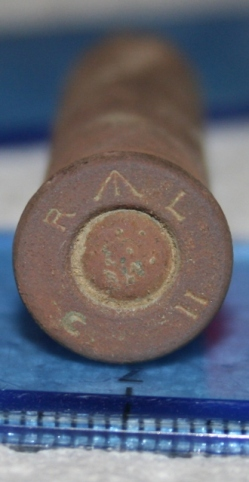 Rosette crimped blank .303 cartridge, made by The Royal Laboratory, Woolwich Arsenal, 1893-1904.