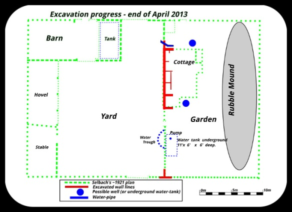 Excavation progress; End April