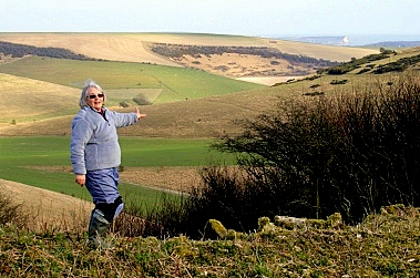 Peggy admires the view to the SE; 28th April 2013.