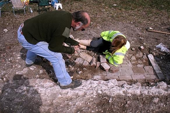 Extending excavation of tiled floor