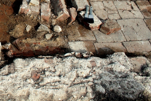 Mortar line, north end of pantry
