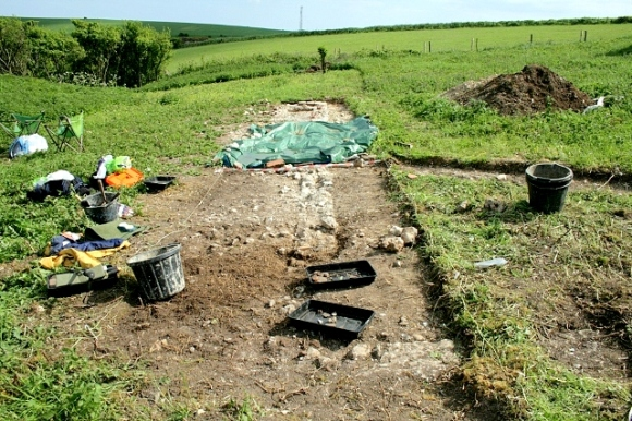 Looking S across N boundary wall, down dividing wall between garden (left) and farmyard (right)