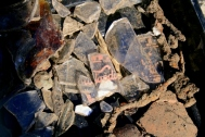 Milk bottle shards from Woodingdean Dairy and other finds; 14th June 2013.