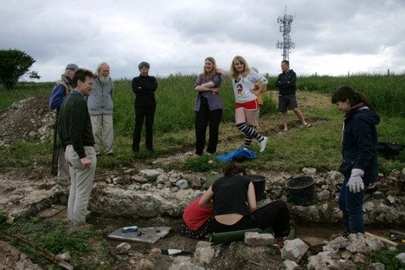 Family visit - digging the toilet site!