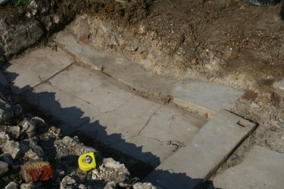 Toilet floor showing mortar slab
