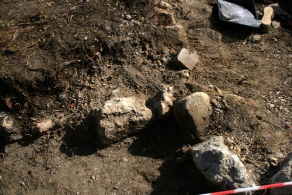 Displaced edging stone
