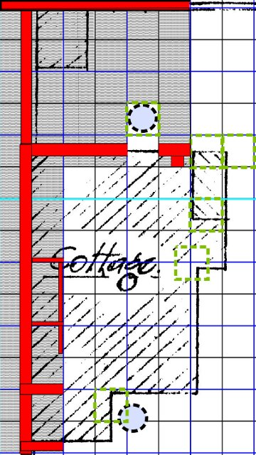 Excavation showing main excavated areas - shaded;  main excavated wall lines - red; possible wells - dashed circles; minimum of 1x1m grid sq.s planned to be excavated - dashed green lines