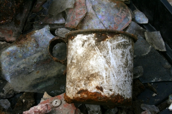 Enamel cup from drain