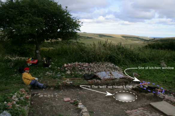 Looking SE from site of toilet to site of missing well!