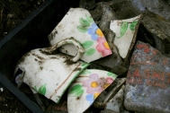Porcelain cup shards with colourful flower design and intact handle; 22nd September 2013.