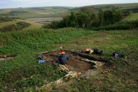 Looking SE at ~1880 extension from excavation spoil heap