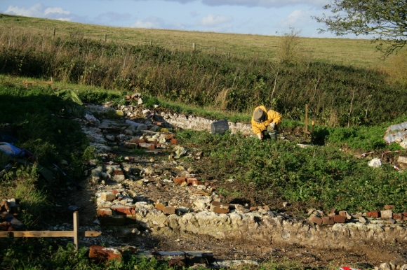 Looking N across whole of cottage to N boundary wall