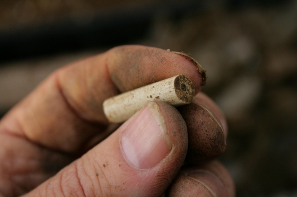 19thc clay pipe stem shard from partially excavated grid square S of cottage, E of ~1880 extension