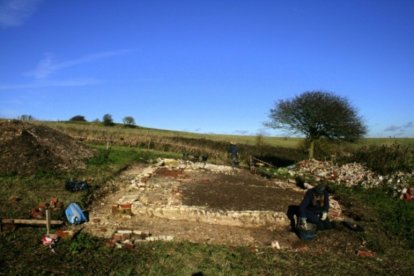 Looking N at Newmarket Farm Cottage excavation