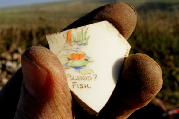 Shard of cup decorated with verse from 'Who Killed Cock Robin'