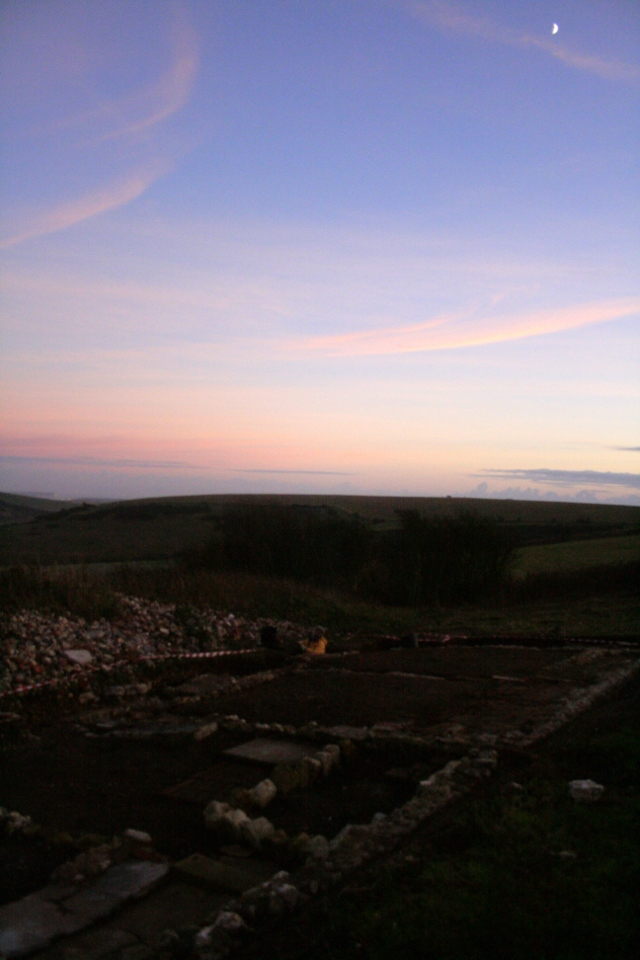 Looking SE at Newmarket Farm dig site at sunset; 8th December 2013.