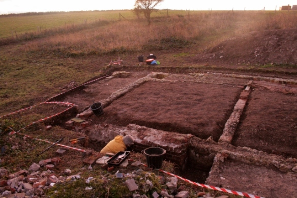 Looking SW at excavation of base of chimney