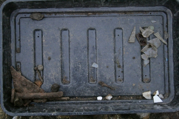 Finds tray from upper part of demolition fill over north-east part of front garden gateway