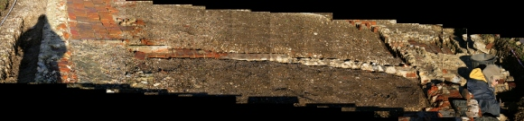 Collage of photos looking N at remains of internal dividing cottage wall
