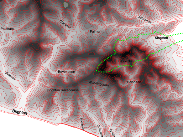 Contour Map with Kingston Parish Boundary
