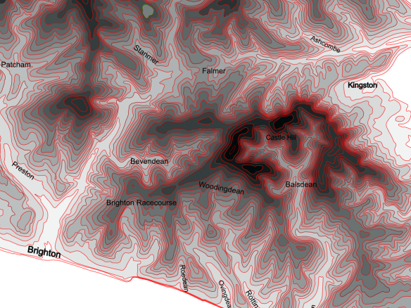 Contour Map of area between Brighton and Lewes