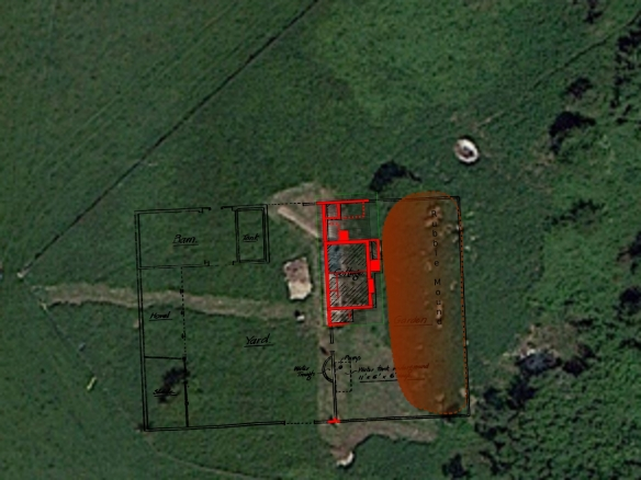 Google Satellite Image of Newmarket Farm Dig overlaid with dig plan