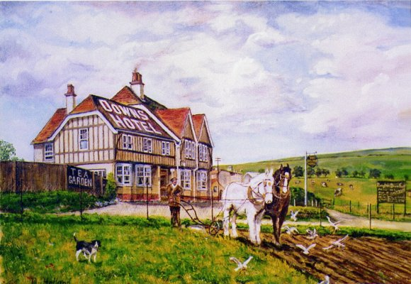 Horse Ploughing, Downs Hotel, Woodingdean from a painting by Douglas Holland