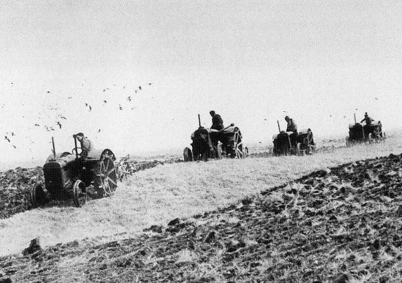 Tractor ploughing at nearby Falmer, WW2