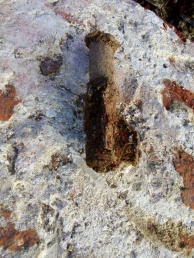 """Rear end of fired suspected 3"""" mortar, with fins; 9th February 2014"""