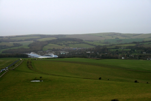 View from communications mast on Newmarket Hill, looking N at Falmer