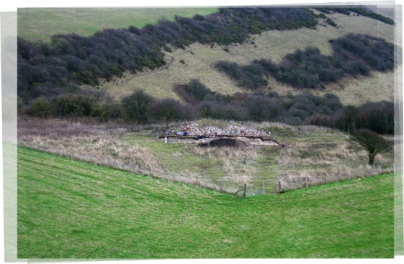 Panoramic view from communications mast on Newmarket Hill, looking E at dig site, overhanging Newmarket Bottom