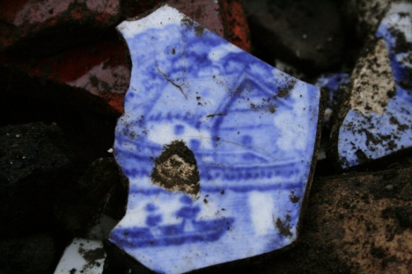 Ceramic shard from fill of construction trench for gully drain