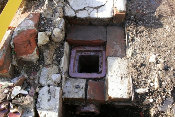 Looking E at gully drain, before its removal