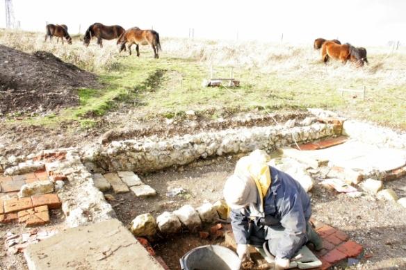 Looking NE at excavation under front doorstep