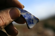 Decorated ceramic shard from under front doorstep; 27th January 2014
