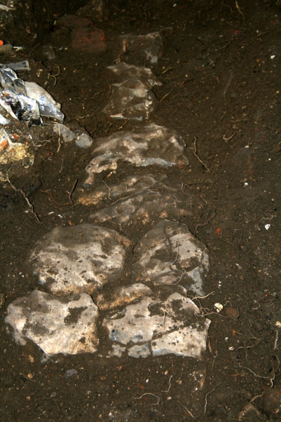 Looking NE at excavation of cobbled flint surface between front garden gate & front door of cottage; 9th February 2014