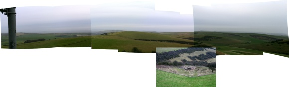 Collage of panoramic views from communications mast on Newmarket Hill, looking E across Newmarket Farm dig site and beyond