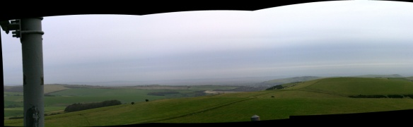 Panoramic view from communications mast on Newmarket Hill looking NE at Newmarket Plantation and Lewes