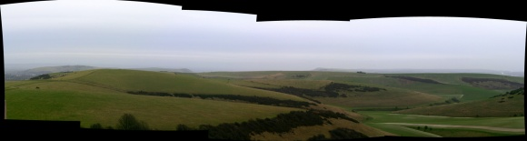 Panoramic view from communications mast on Newmarket Hill looking E at Castle Hill and the Balsdean Valley