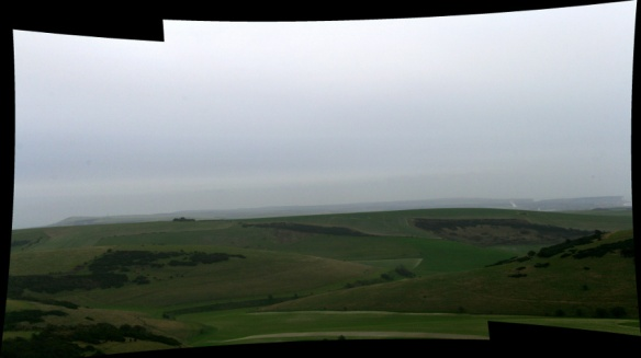 Panoramic view from communications mast on Newmarket Hill, looking SE at distant hills of Firle Beacon, Cuckmere Haven & Seaford Head