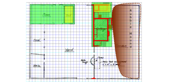 Plan showing the area of the barn in green superimposed over the excavated area of the cottage.