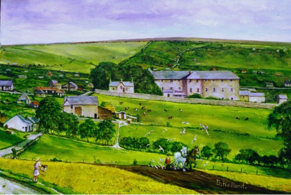 Painting by Douglas Holland from a photograph of early Woodingdean taken early 1920's from the Racehill, Brighton.