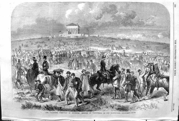 Volunteer Field-Day at Brighton: Arrival of Volunteers on the Racecourse; Illustrated London News, 1862.