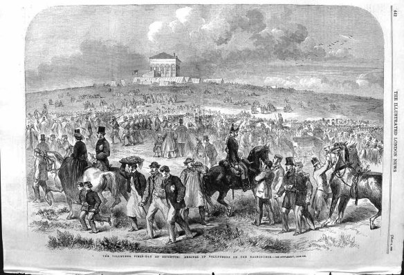Volunteer Field-Day at Brighton: Arrival of Volunteers on the Racecourse; London Illustrated News, 1862